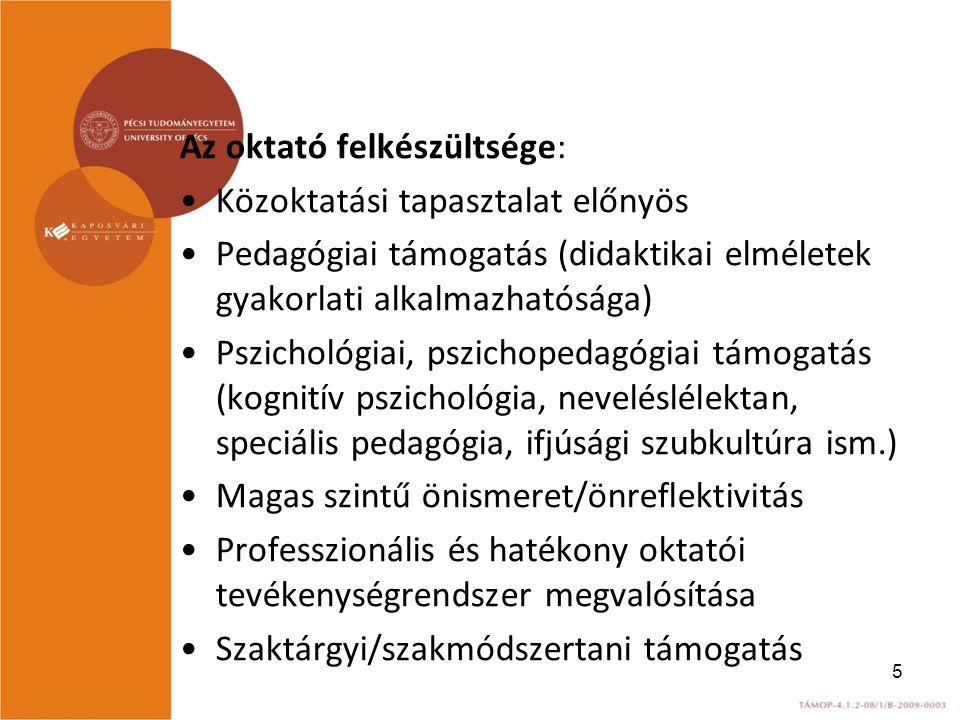 Az oktató felkészültsége: Közoktatási tapasztalat előnyös Pedagógiai támogatás (didaktikai elméletek gyakorlati alkalmazhatósága) Pszichológiai, pszichopedagógiai támogatás (kognitív pszichológia, neveléslélektan, speciális pedagógia, ifjúsági szubkultúra ism.) Magas szintű önismeret/önreflektivitás Professzionális és hatékony oktatói tevékenységrendszer megvalósítása Szaktárgyi/szakmódszertani támogatás 5