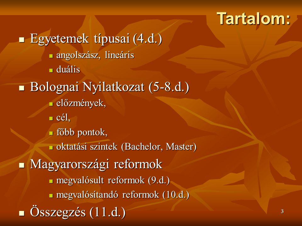 3 Egyetemek típusai (4.d.) Egyetemek típusai (4.d.) angolszász, lineáris angolszász, lineáris duális duális Bolognai Nyilatkozat (5-8.d.) Bolognai Nyilatkozat (5-8.d.) előzmények, előzmények, cél, cél, főbb pontok, főbb pontok, oktatási szintek (Bachelor, Master) oktatási szintek (Bachelor, Master) Magyarországi reformok Magyarországi reformok megvalósult reformok (9.d.) megvalósult reformok (9.d.) megvalósítandó reformok (10.d.) megvalósítandó reformok (10.d.) Összegzés (11.d.) Összegzés (11.d.) Tartalom: