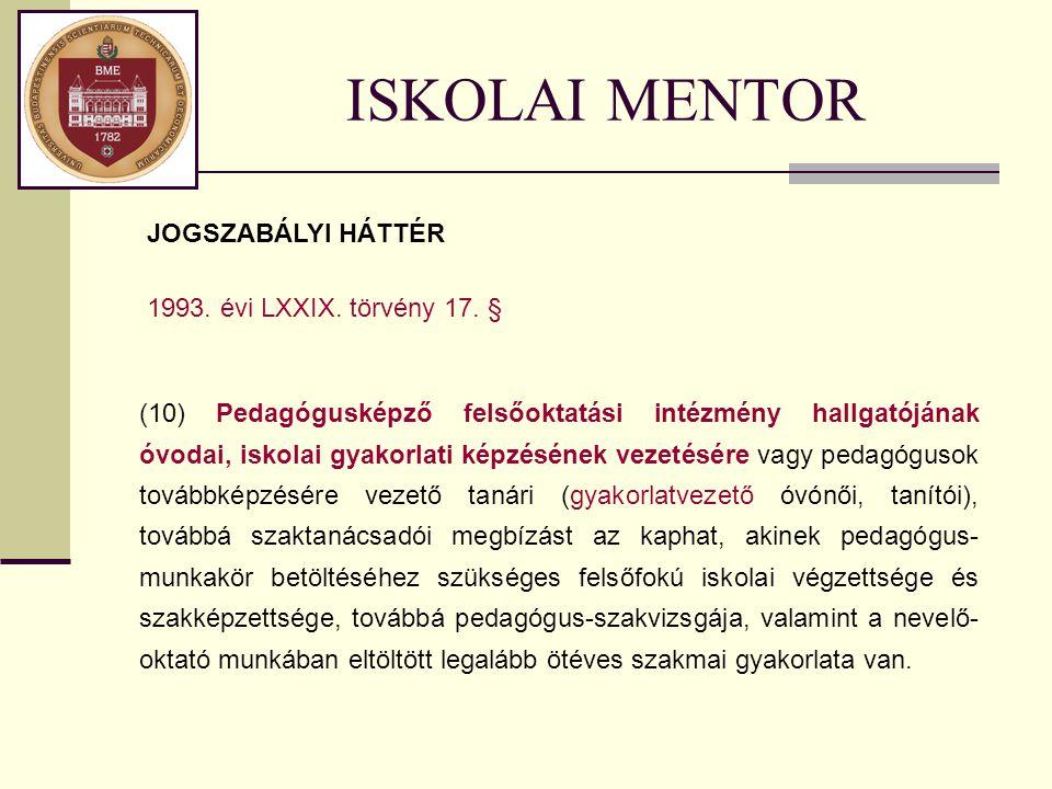 ISKOLAI MENTOR (10) Pedagógusképző felsőoktatási intézmény hallgatójának óvodai, iskolai gyakorlati képzésének vezetésére vagy pedagógusok továbbképzé