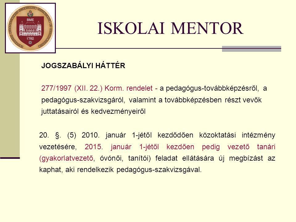 ISKOLAI MENTOR 20. §. (5) 2010. január 1-jétől kezdődően közoktatási intézmény vezetésére, 2015. január 1-jétől kezdően pedig vezető tanári (gyakorlat