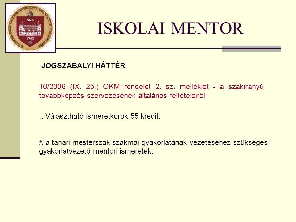 ISKOLAI MENTOR.. Választható ismeretkörök 55 kredit: f) a tanári mesterszak szakmai gyakorlatának vezetéséhez szükséges gyakorlatvezető mentori ismere