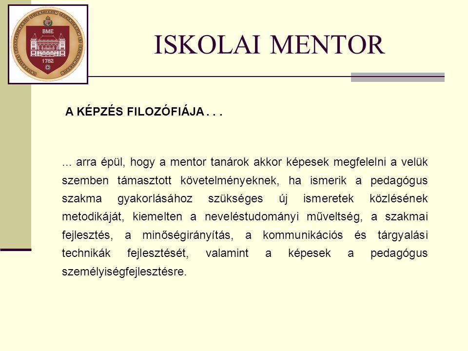 ISKOLAI MENTOR A KÉPZÉS FILOZÓFIÁJA...... arra épül, hogy a mentor tanárok akkor képesek megfelelni a velük szemben támasztott követelményeknek, ha is