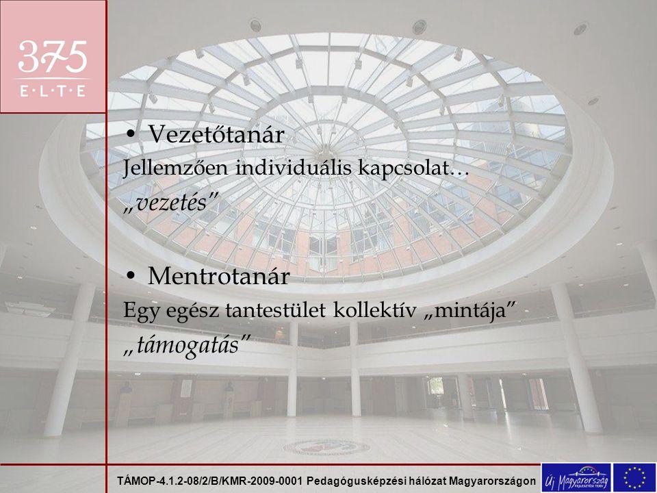 """TÁMOP-4.1.2-08/2/B/KMR-2009-0001 Pedagógusképzési hálózat Magyarországon Vezetőtanár Jellemzően individuális kapcsolat… """"vezetés Mentrotanár Egy egész tantestület kollektív """"mintája """"támogatás"""