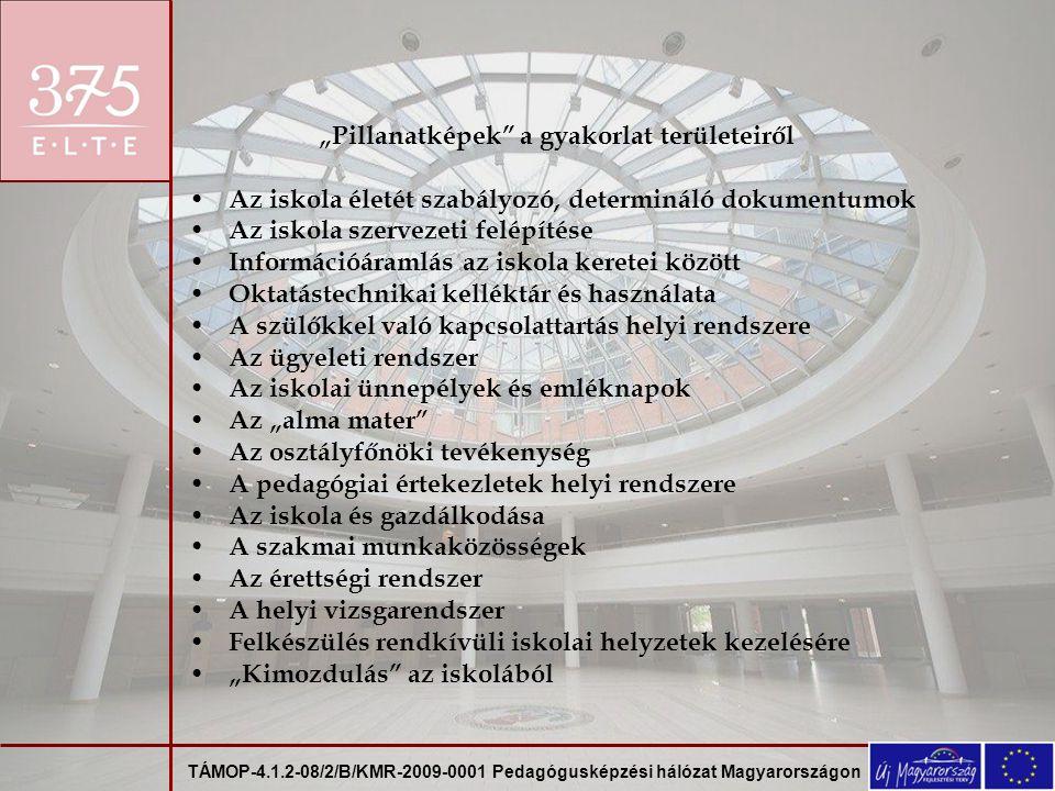 TÁMOP-4.1.2-08/2/B/KMR-2009-0001 Pedagógusképzési hálózat Magyarországon Hallgatók, tanárjelöltek, tanári mesterszakosok az iskola világában