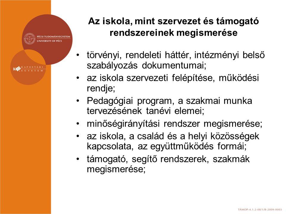 Az iskola, mint szervezet és támogató rendszereinek megismerése törvényi, rendeleti háttér, intézményi belső szabályozás dokumentumai; az iskola szervezeti felépítése, működési rendje; Pedagógiai program, a szakmai munka tervezésének tanévi elemei; minőségirányítási rendszer megismerése; az iskola, a család és a helyi közösségek kapcsolata, az együttműködés formái; támogató, segítő rendszerek, szakmák megismerése;