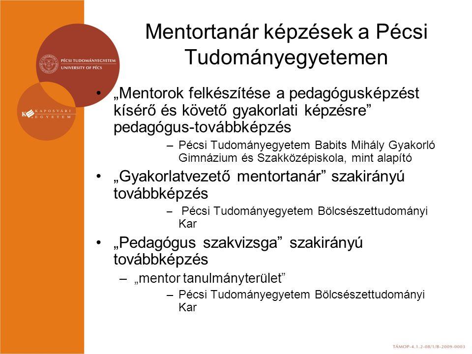 """Mentortanár képzések a Pécsi Tudományegyetemen """"Mentorok felkészítése a pedagógusképzést kísérő és követő gyakorlati képzésre pedagógus-továbbképzés –Pécsi Tudományegyetem Babits Mihály Gyakorló Gimnázium és Szakközépiskola, mint alapító """"Gyakorlatvezető mentortanár szakirányú továbbképzés – Pécsi Tudományegyetem Bölcsészettudományi Kar """"Pedagógus szakvizsga szakirányú továbbképzés –""""mentor tanulmányterület –Pécsi Tudományegyetem Bölcsészettudományi Kar"""