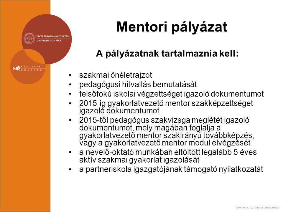Mentori pályázat A pályázatnak tartalmaznia kell: szakmai önéletrajzot pedagógusi hitvallás bemutatását felsőfokú iskolai végzettséget igazoló dokumentumot 2015-ig gyakorlatvezető mentor szakképzettséget igazoló dokumentumot 2015-től pedagógus szakvizsga meglétét igazoló dokumentumot, mely magában foglalja a gyakorlatvezető mentor szakirányú továbbképzés, vagy a gyakorlatvezető mentor modul elvégzését a nevelő-oktató munkában eltöltött legalább 5 éves aktív szakmai gyakorlat igazolását a partneriskola igazgatójának támogató nyilatkozatát