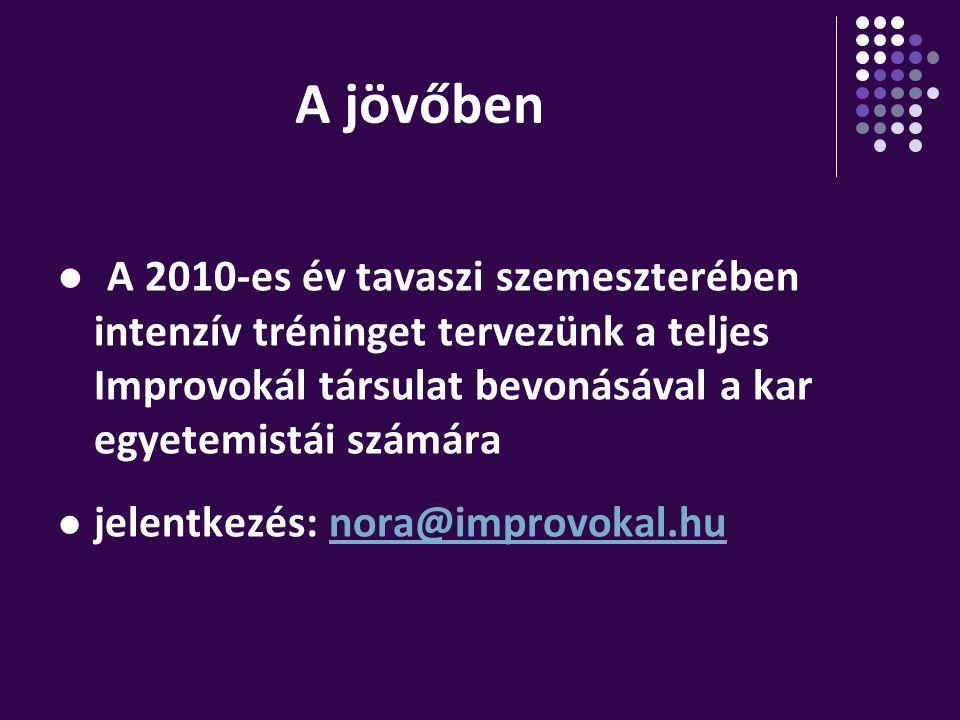 A jövőben A 2010-es év tavaszi szemeszterében intenzív tréninget tervezünk a teljes Improvokál társulat bevonásával a kar egyetemistái számára jelentk