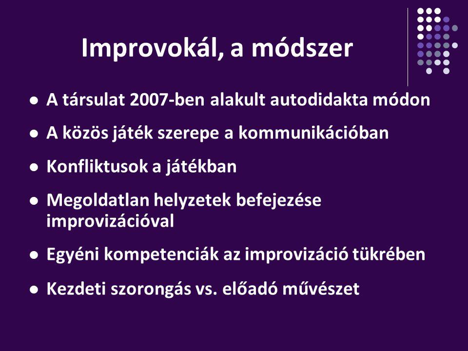 Improvokál, a módszer A társulat 2007-ben alakult autodidakta módon A közös játék szerepe a kommunikációban Konfliktusok a játékban Megoldatlan helyze