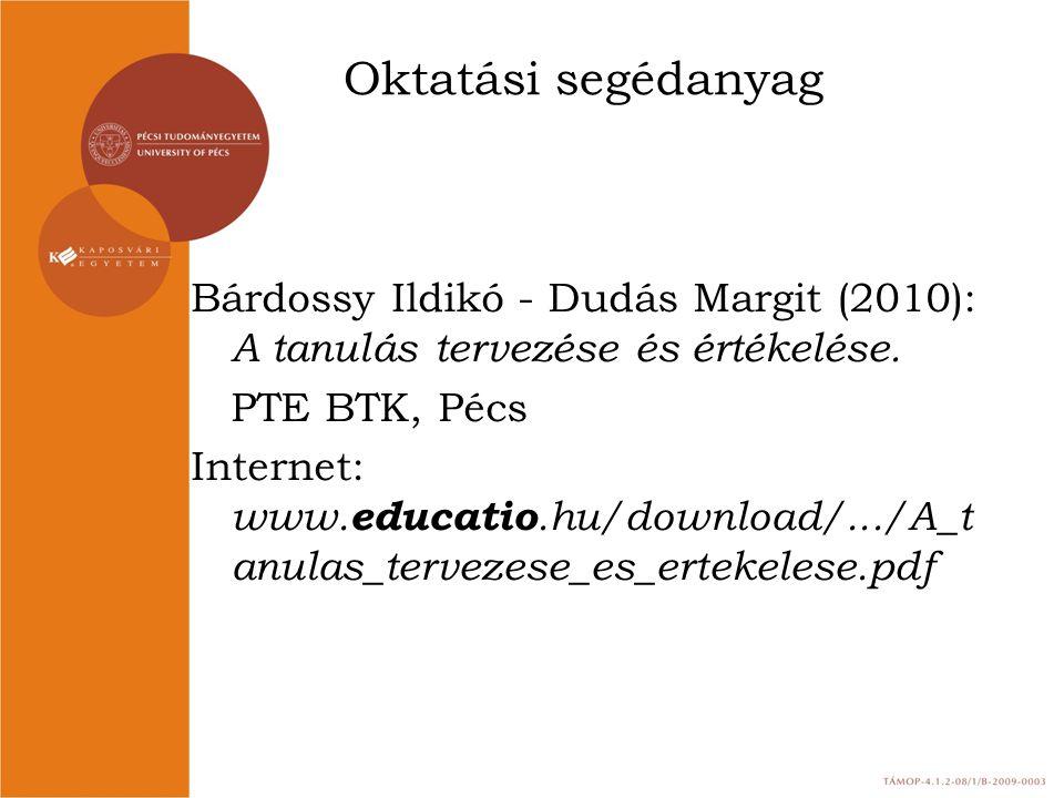 Oktatási segédanyag Bárdossy Ildikó - Dudás Margit (2010): A tanulás tervezése és értékelése. PTE BTK, Pécs Internet: www. educatio.hu/download/.../A_