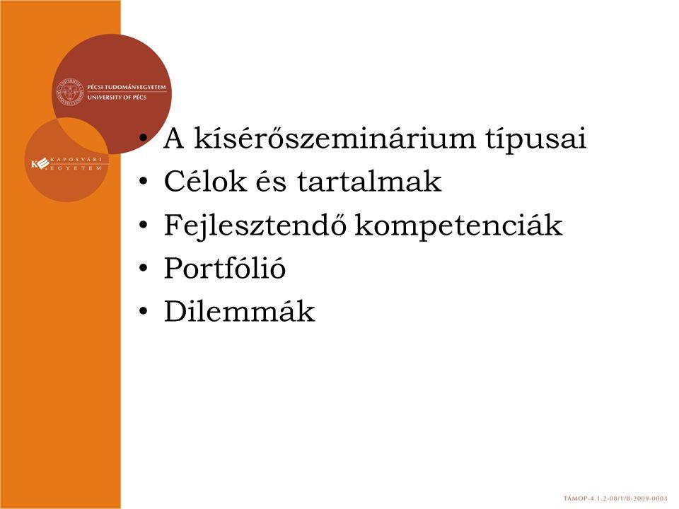 A kísérőszeminárium típusai Célok és tartalmak Fejlesztendő kompetenciák Portfólió Dilemmák
