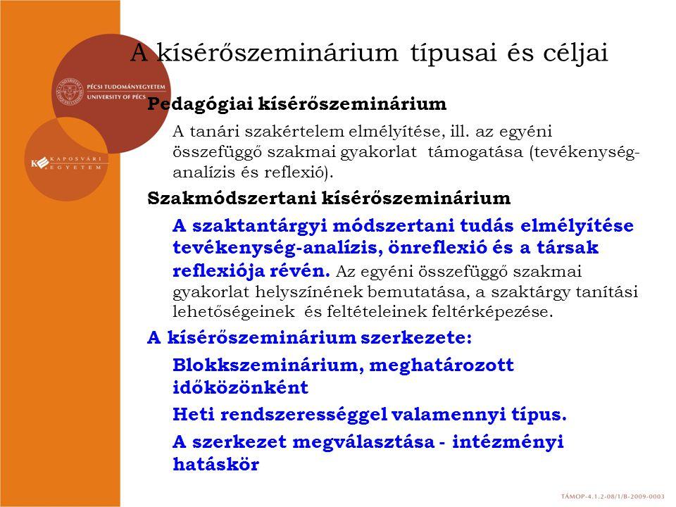 A kísérőszeminárium típusai és céljai Pedagógiai kísérőszeminárium A tanári szakértelem elmélyítése, ill. az egyéni összefüggő szakmai gyakorlat támog