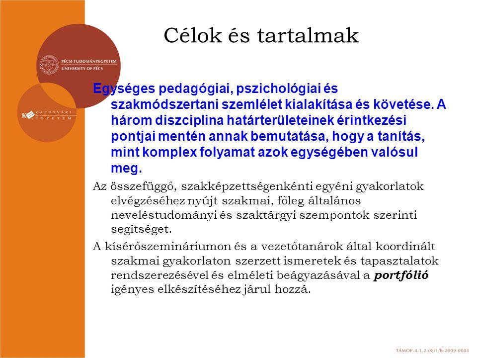 Célok és tartalmak Egységes pedagógiai, pszichológiai és szakmódszertani szemlélet kialakítása és követése. A három diszciplina határterületeinek érin