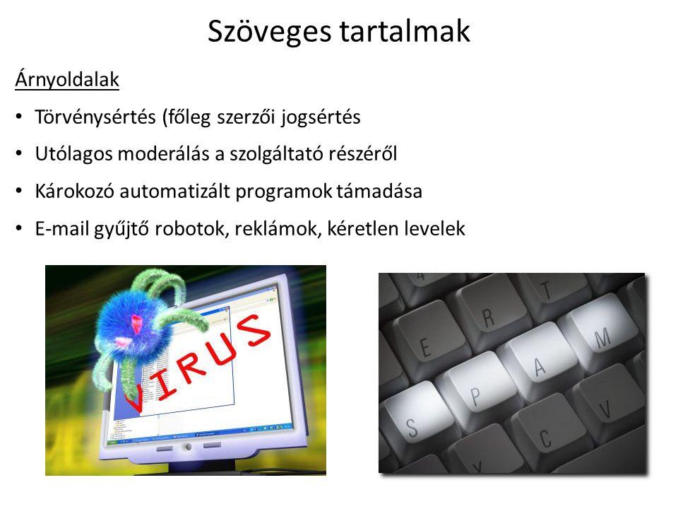 Szöveges tartalmak Árnyoldalak Törvénysértés (főleg szerzői jogsértés Utólagos moderálás a szolgáltató részéről Károkozó automatizált programok támadása E-mail gyűjtő robotok, reklámok, kéretlen levelek