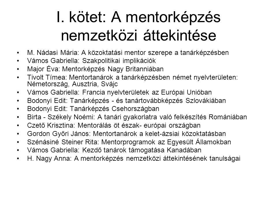 I. kötet: A mentorképzés nemzetközi áttekintése M. Nádasi Mária: A közoktatási mentor szerepe a tanárképzésben Vámos Gabriella: Szakpolitikai implikác