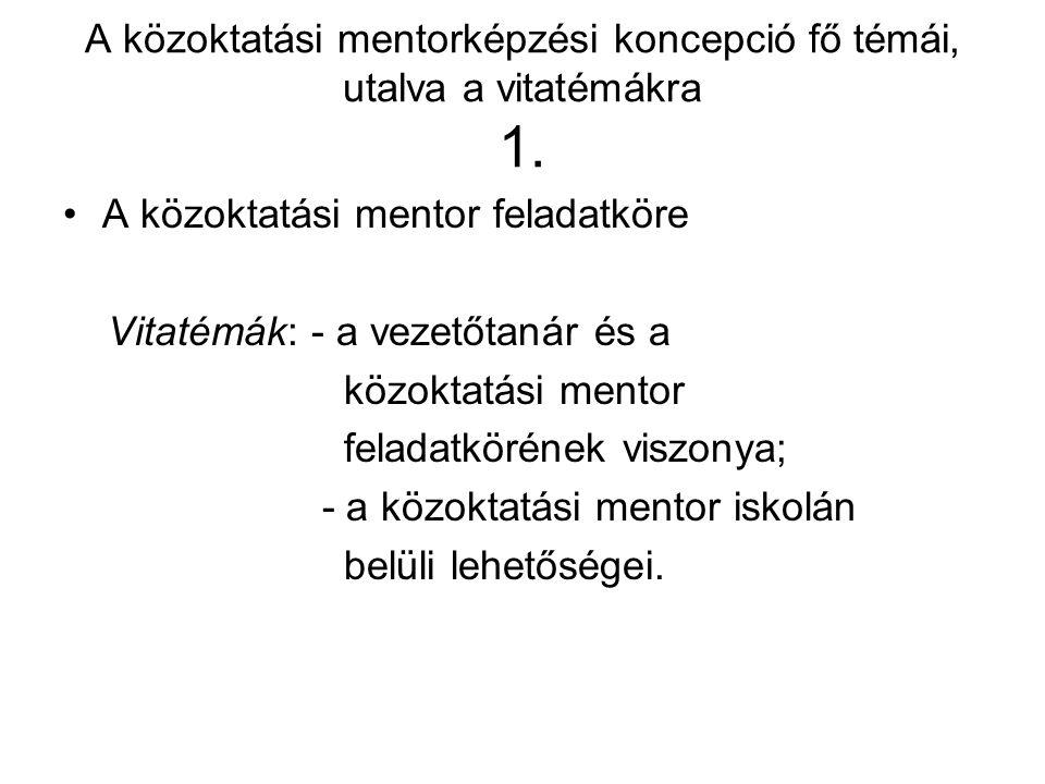 A közoktatási mentorképzési koncepció fő témái, utalva a vitatémákra 1. A közoktatási mentor feladatköre Vitatémák: - a vezetőtanár és a közoktatási m