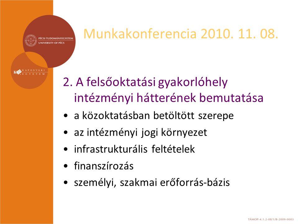 Munkakonferencia 2010. 11. 08. 2.