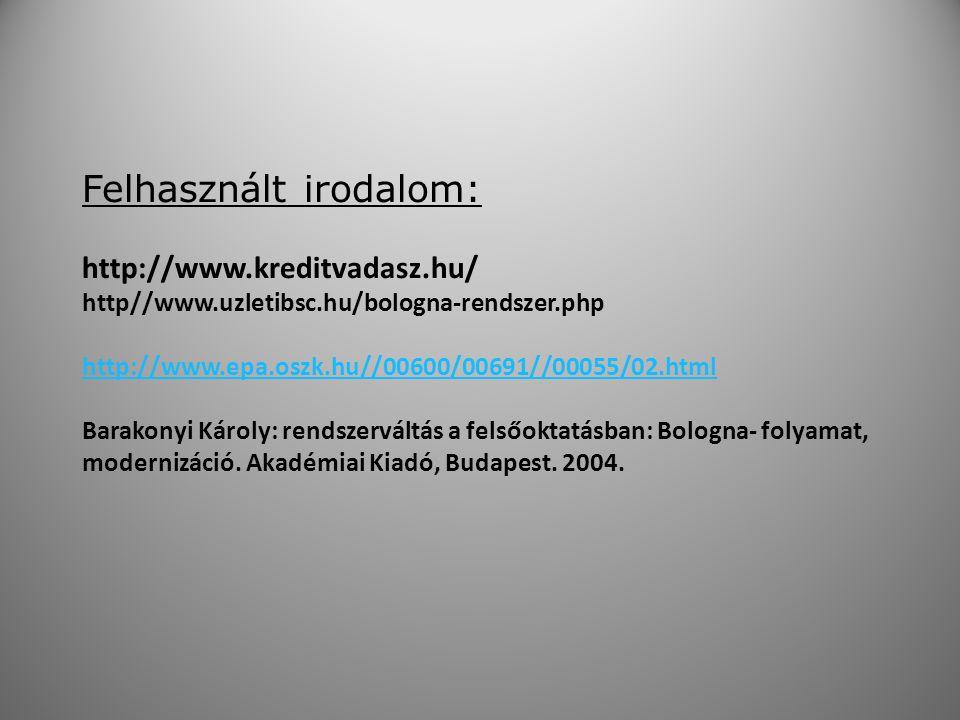 Felhasznált irodalom: http://www.kreditvadasz.hu/ http//www.uzletibsc.hu/bologna-rendszer.php http://www.epa.oszk.hu//00600/00691//00055/02.html Barakonyi Károly: rendszerváltás a felsőoktatásban: Bologna- folyamat, modernizáció.