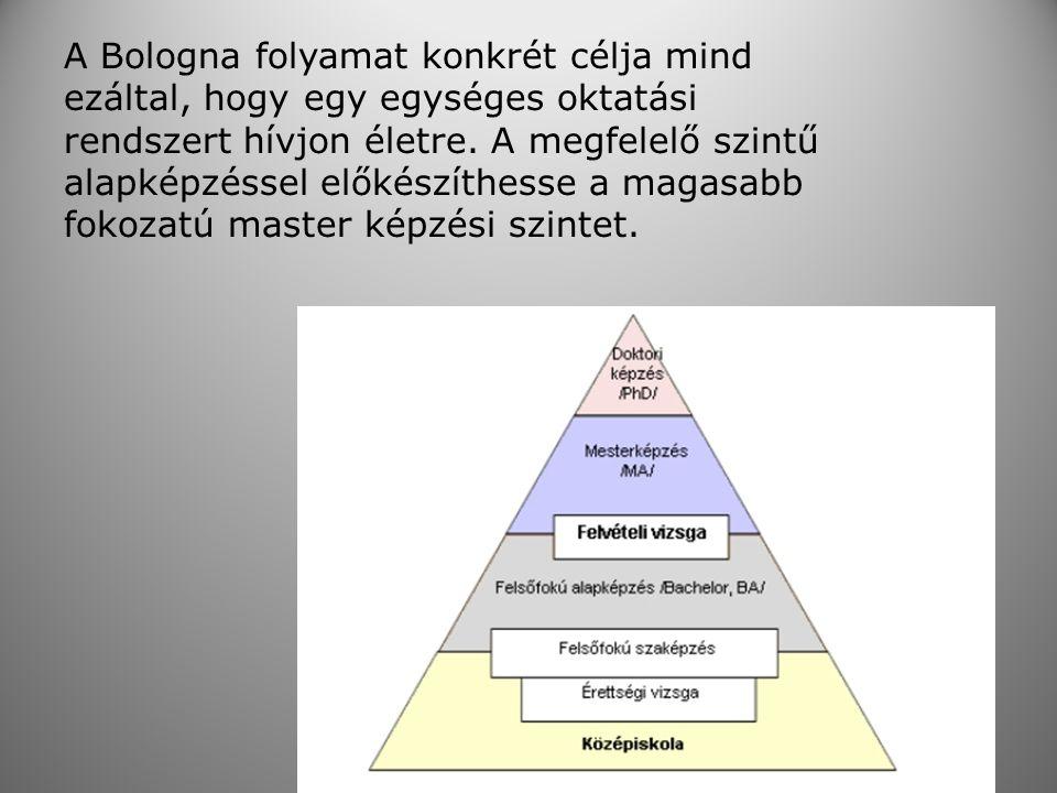 A Bologna folyamat konkrét célja mind ezáltal, hogy egy egységes oktatási rendszert hívjon életre. A megfelelő szintű alapképzéssel előkészíthesse a m