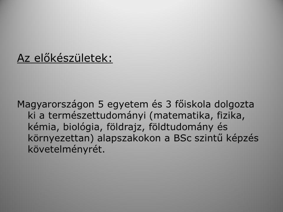 Az előkészületek: Magyarországon 5 egyetem és 3 főiskola dolgozta ki a természettudományi (matematika, fizika, kémia, biológia, földrajz, földtudomány