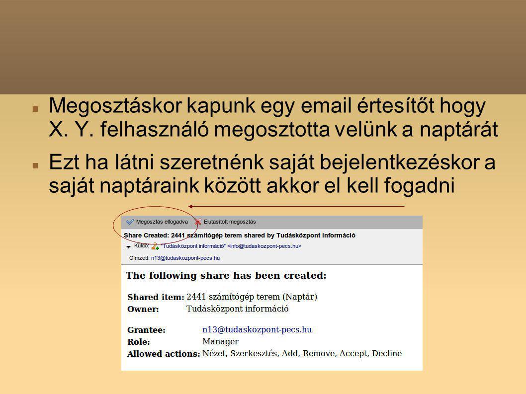 Megosztáskor kapunk egy email értesítőt hogy X. Y.