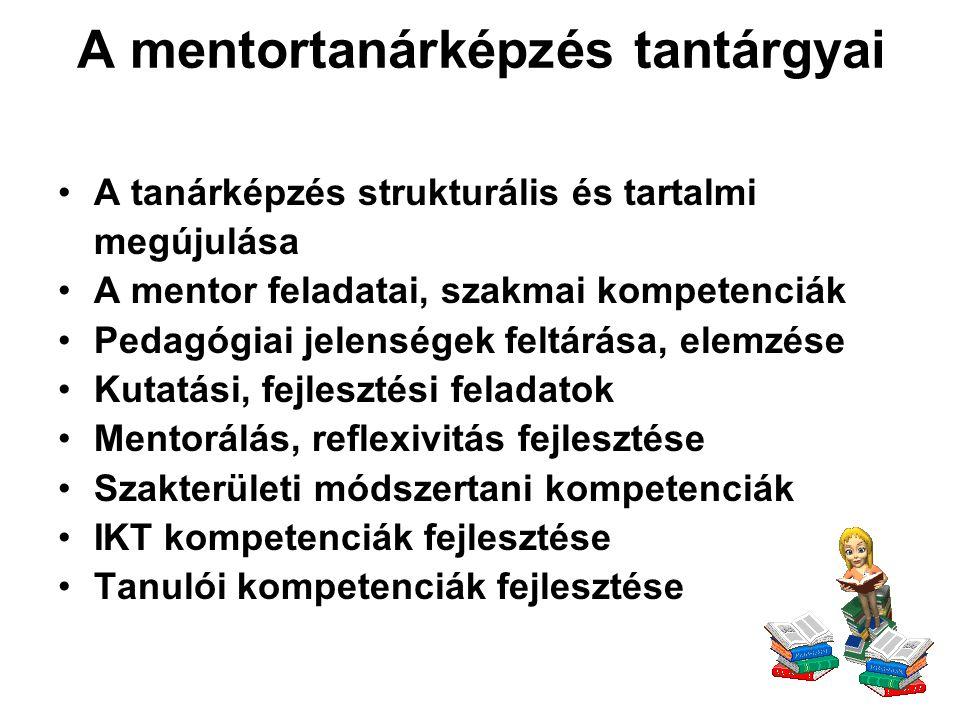 A mentortanárképzés tantárgyai Speciális nevelési területek Pedagógiai munkát segítő szakemberek, intézmények Osztályfőnöki munka Tehetséggondozás, kreativitásfejlesztés Pedagógusok tudásának feltárását szolgáló módszerek, hatásvizsgálatok Gyakorlat Portfólió