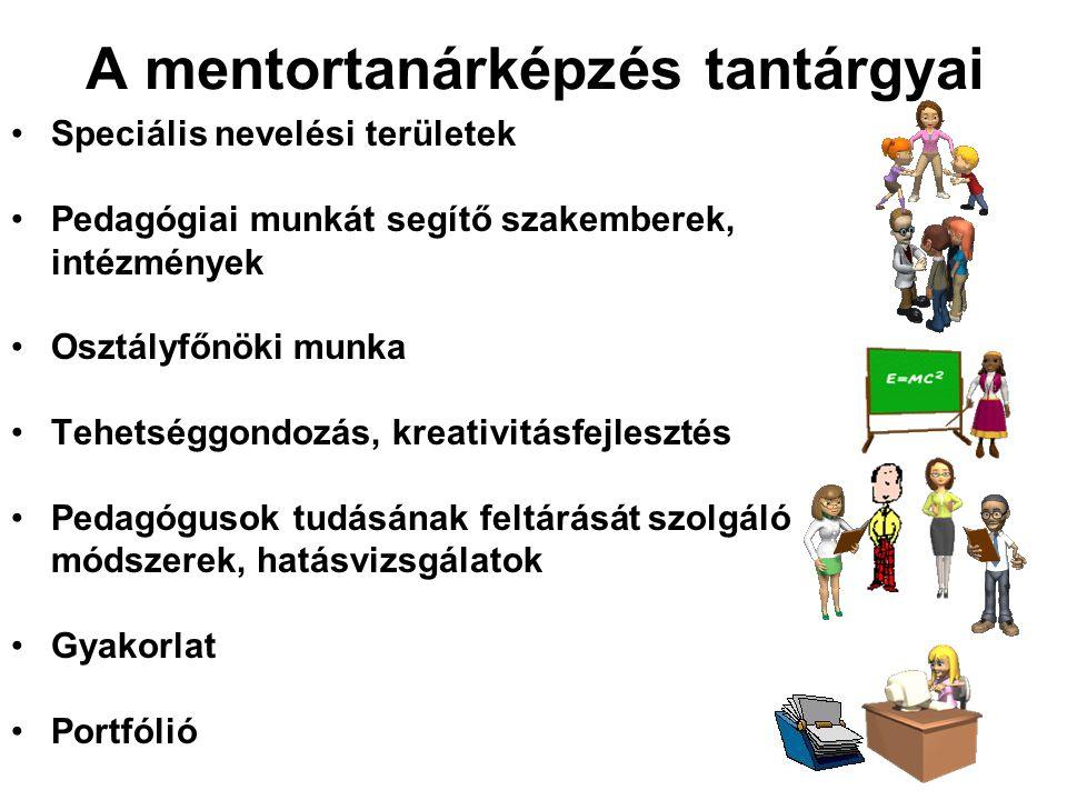 A mentortanárképzés tantárgyai Speciális nevelési területek Pedagógiai munkát segítő szakemberek, intézmények Osztályfőnöki munka Tehetséggondozás, kr