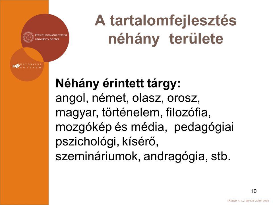 A tartalomfejlesztés néhány területe Néhány érintett tárgy: angol, német, olasz, orosz, magyar, történelem, filozófia, mozgókép és média, pedagógiai p