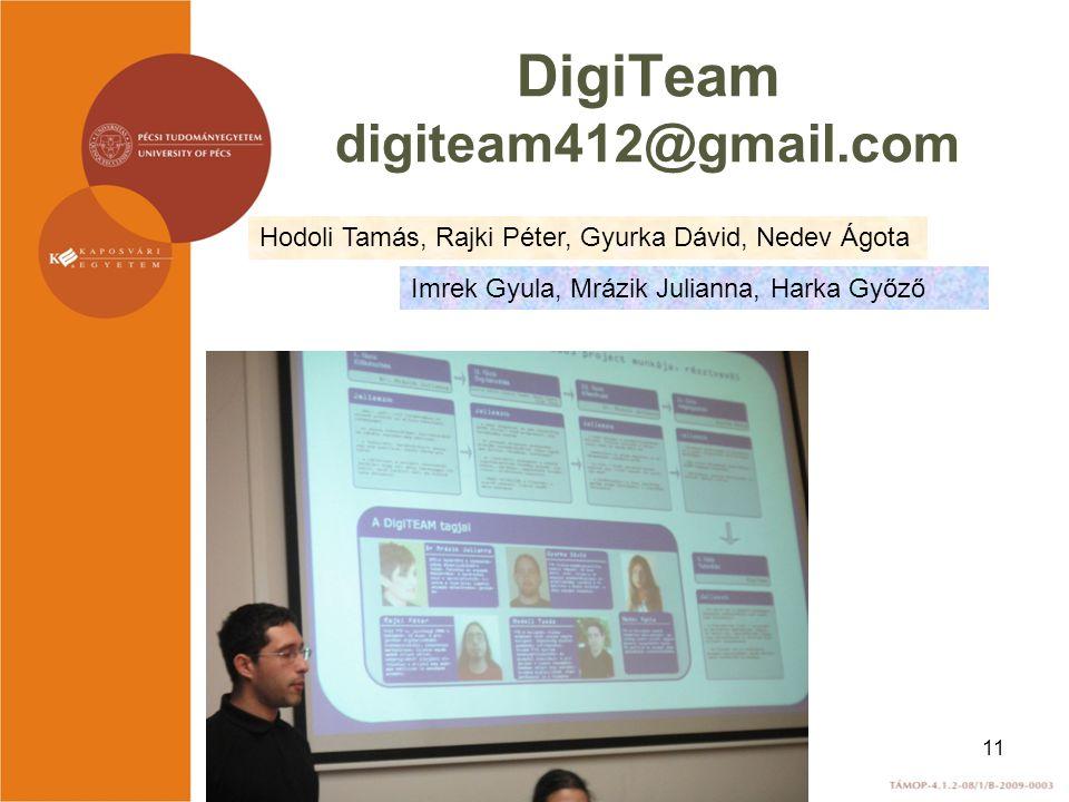DigiTeam digiteam412@gmail.com Hodoli Tamás, Rajki Péter, Gyurka Dávid, Nedev Ágota Imrek Gyula, Mrázik Julianna, Harka Győző 11
