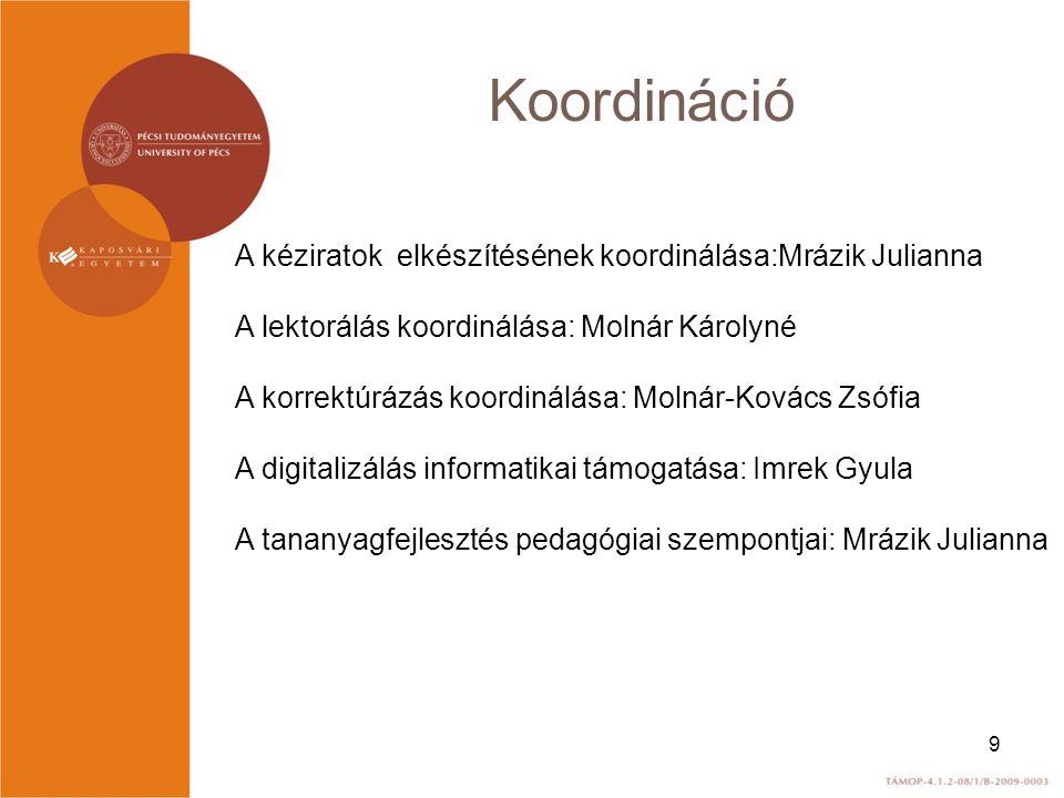 Koordináció A kéziratok elkészítésének koordinálása:Mrázik Julianna A lektorálás koordinálása: Molnár Károlyné A korrektúrázás koordinálása: Molnár-Ko