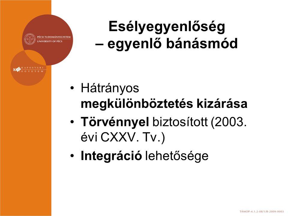 Esélyegyenlőség – egyenlő bánásmód Hátrányos megkülönböztetés kizárása Törvénnyel biztosított (2003. évi CXXV. Tv.) Integráció lehetősége