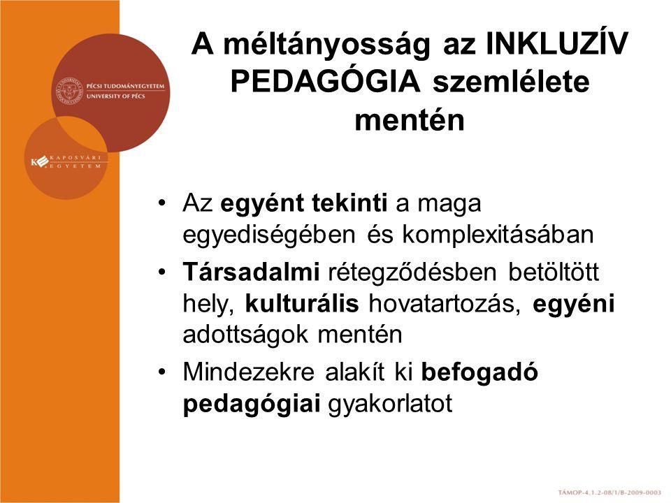 A méltányosság az INKLUZÍV PEDAGÓGIA szemlélete mentén Az egyént tekinti a maga egyediségében és komplexitásában Társadalmi rétegződésben betöltött hely, kulturális hovatartozás, egyéni adottságok mentén Mindezekre alakít ki befogadó pedagógiai gyakorlatot