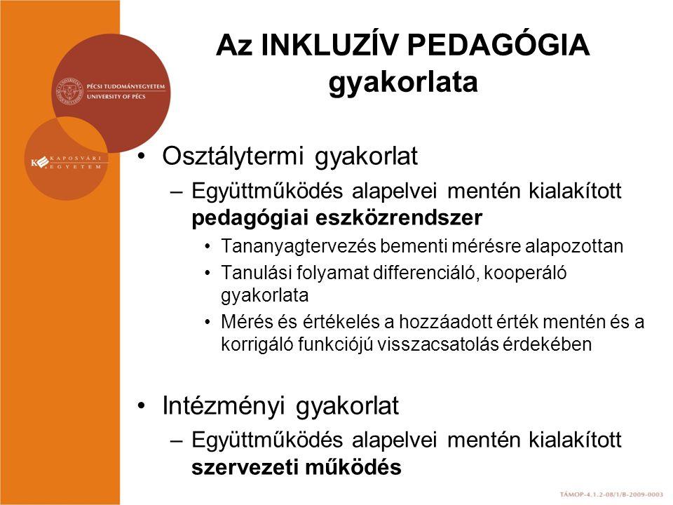 Az INKLUZÍV PEDAGÓGIA gyakorlata Osztálytermi gyakorlat –Együttműködés alapelvei mentén kialakított pedagógiai eszközrendszer Tananyagtervezés bementi