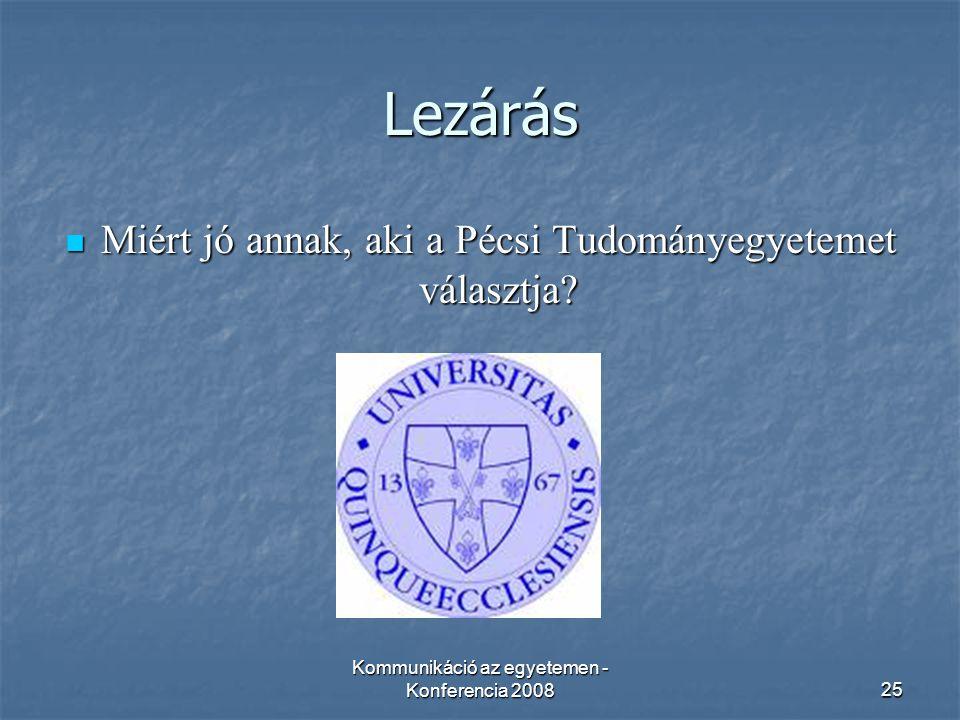 Kommunikáció az egyetemen - Konferencia 200825 Lezárás Miért jó annak, aki a Pécsi Tudományegyetemet választja.