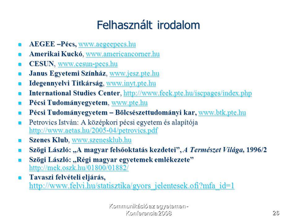 """Kommunikáció az egyetemen - Konferencia 200826 Felhasznált irodalom AEGEE –Pécs, www.aegeepecs.hu AEGEE –Pécs, www.aegeepecs.huwww.aegeepecs.hu Amerikai Kuckó, www.americancorner.hu Amerikai Kuckó, www.americancorner.huwww.americancorner.hu CESUN, www.cesun-pecs.hu CESUN, www.cesun-pecs.huwww.cesun-pecs.hu Janus Egyetemi Színház, www.jesz.pte.hu Janus Egyetemi Színház, www.jesz.pte.huwww.jesz.pte.hu Idegennyelvi Titkárság, www.inyt.pte.hu Idegennyelvi Titkárság, www.inyt.pte.huwww.inyt.pte.hu International Studies Center, http://www.feek.pte.hu/iscpages/index.php International Studies Center, http://www.feek.pte.hu/iscpages/index.phphttp://www.feek.pte.hu/iscpages/index.php Pécsi Tudományegyetem, www.pte.hu Pécsi Tudományegyetem, www.pte.huwww.pte.hu Pécsi Tudományegyetem – Bölcsészettudományi kar, www.btk.pte.hu Pécsi Tudományegyetem – Bölcsészettudományi kar, www.btk.pte.huwww.btk.pte.hu Petrovics István: A középkori pécsi egyetem és alapítója http://www.aetas.hu/2005-04/petrovics.pdf Petrovics István: A középkori pécsi egyetem és alapítója http://www.aetas.hu/2005-04/petrovics.pdf http://www.aetas.hu/2005-04/petrovics.pdf Szenes Klub, www.szenesklub.hu Szenes Klub, www.szenesklub.huwww.szenesklub.hu Szögi László: """"A magyar felsőoktatás kezdetei , A Természet Világa, 1996/2 Szögi László: """"A magyar felsőoktatás kezdetei , A Természet Világa, 1996/2 Szögi László: """"Régi magyar egyetemek emlékezete http://mek.oszk.hu/01800/01882/ Szögi László: """"Régi magyar egyetemek emlékezete http://mek.oszk.hu/01800/01882/ http://mek.oszk.hu/01800/01882/ Tavaszi felvételi eljárás, http://www.felvi.hu/statisztika/gyors_jelentesek.ofi mfa_id=1 Tavaszi felvételi eljárás, http://www.felvi.hu/statisztika/gyors_jelentesek.ofi mfa_id=1 http://www.felvi.hu/statisztika/gyors_jelentesek.ofi mfa_id=1"""