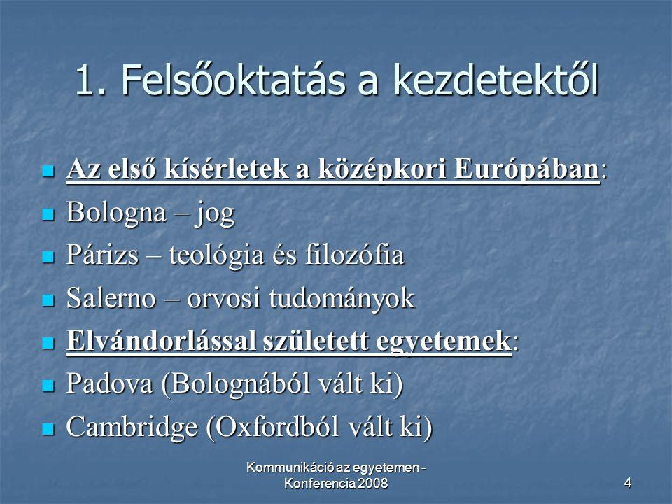 Kommunikáció az egyetemen - Konferencia 20084 1.