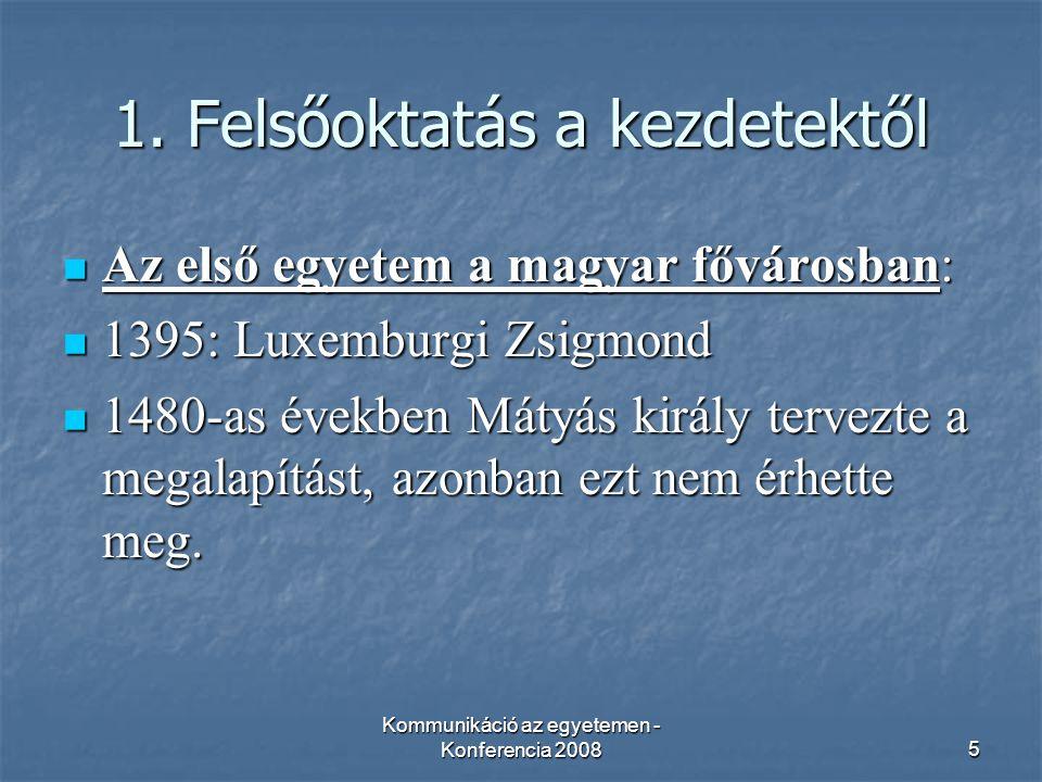 """Kommunikáció az egyetemen - Konferencia 200826 Felhasznált irodalom AEGEE –Pécs, www.aegeepecs.hu AEGEE –Pécs, www.aegeepecs.huwww.aegeepecs.hu Amerikai Kuckó, www.americancorner.hu Amerikai Kuckó, www.americancorner.huwww.americancorner.hu CESUN, www.cesun-pecs.hu CESUN, www.cesun-pecs.huwww.cesun-pecs.hu Janus Egyetemi Színház, www.jesz.pte.hu Janus Egyetemi Színház, www.jesz.pte.huwww.jesz.pte.hu Idegennyelvi Titkárság, www.inyt.pte.hu Idegennyelvi Titkárság, www.inyt.pte.huwww.inyt.pte.hu International Studies Center, http://www.feek.pte.hu/iscpages/index.php International Studies Center, http://www.feek.pte.hu/iscpages/index.phphttp://www.feek.pte.hu/iscpages/index.php Pécsi Tudományegyetem, www.pte.hu Pécsi Tudományegyetem, www.pte.huwww.pte.hu Pécsi Tudományegyetem – Bölcsészettudományi kar, www.btk.pte.hu Pécsi Tudományegyetem – Bölcsészettudományi kar, www.btk.pte.huwww.btk.pte.hu Petrovics István: A középkori pécsi egyetem és alapítója http://www.aetas.hu/2005-04/petrovics.pdf Petrovics István: A középkori pécsi egyetem és alapítója http://www.aetas.hu/2005-04/petrovics.pdf http://www.aetas.hu/2005-04/petrovics.pdf Szenes Klub, www.szenesklub.hu Szenes Klub, www.szenesklub.huwww.szenesklub.hu Szögi László: """"A magyar felsőoktatás kezdetei , A Természet Világa, 1996/2 Szögi László: """"A magyar felsőoktatás kezdetei , A Természet Világa, 1996/2 Szögi László: """"Régi magyar egyetemek emlékezete http://mek.oszk.hu/01800/01882/ Szögi László: """"Régi magyar egyetemek emlékezete http://mek.oszk.hu/01800/01882/ http://mek.oszk.hu/01800/01882/ Tavaszi felvételi eljárás, http://www.felvi.hu/statisztika/gyors_jelentesek.ofi?mfa_id=1 Tavaszi felvételi eljárás, http://www.felvi.hu/statisztika/gyors_jelentesek.ofi?mfa_id=1 http://www.felvi.hu/statisztika/gyors_jelentesek.ofi?mfa_id=1"""
