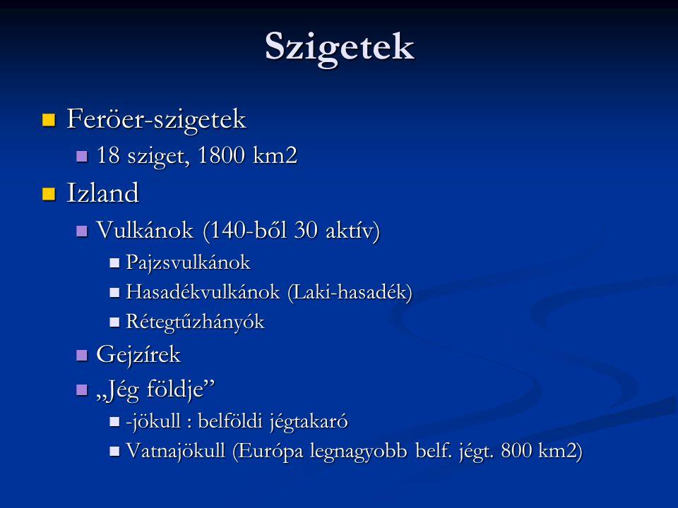 Szigetek Feröer-szigetek Feröer-szigetek 18 sziget, 1800 km2 18 sziget, 1800 km2 Izland Izland Vulkánok (140-ből 30 aktív) Vulkánok (140-ből 30 aktív)