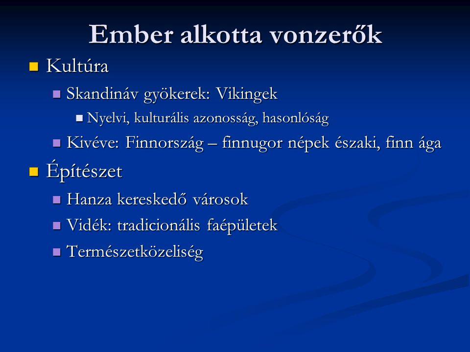 Ember alkotta vonzerők Kultúra Kultúra Skandináv gyökerek: Vikingek Skandináv gyökerek: Vikingek Nyelvi, kulturális azonosság, hasonlóság Nyelvi, kult