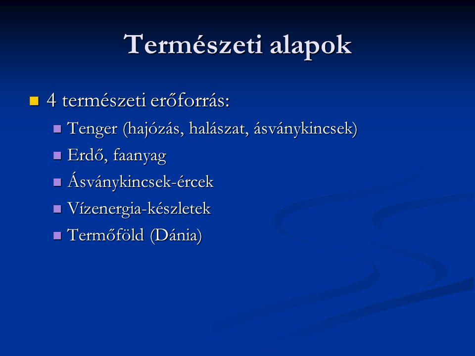 Természeti alapok 4 természeti erőforrás: 4 természeti erőforrás: Tenger (hajózás, halászat, ásványkincsek) Tenger (hajózás, halászat, ásványkincsek)