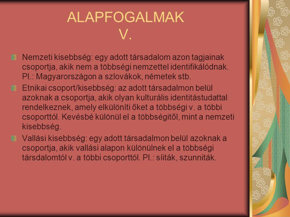 ALAPFOGALMAK V. Nemzeti kisebbség: egy adott társadalom azon tagjainak csoportja, akik nem a többségi nemzettel identifikálódnak. Pl.: Magyarországon