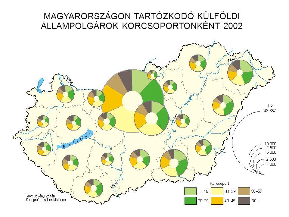 MAGYARORSZÁGON TARTÓZKODÓ KÜLFÖLDI ÁLLAMPOLGÁROK KORCSOPORTONKÉNT 2002