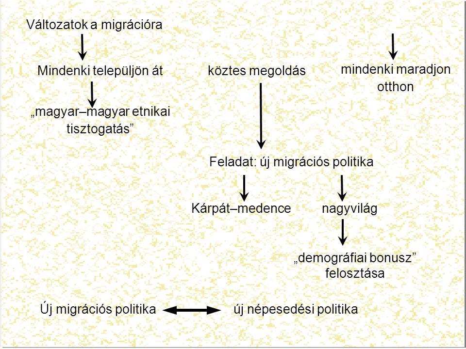 """Változatok a migrációra Mindenki települjön át """"magyar–magyar etnikai tisztogatás köztes megoldás mindenki maradjon otthon Feladat: új migrációs politika Kárpát–medence nagyvilág Új migrációs politika új népesedési politika """"demográfiai bonusz felosztása"""
