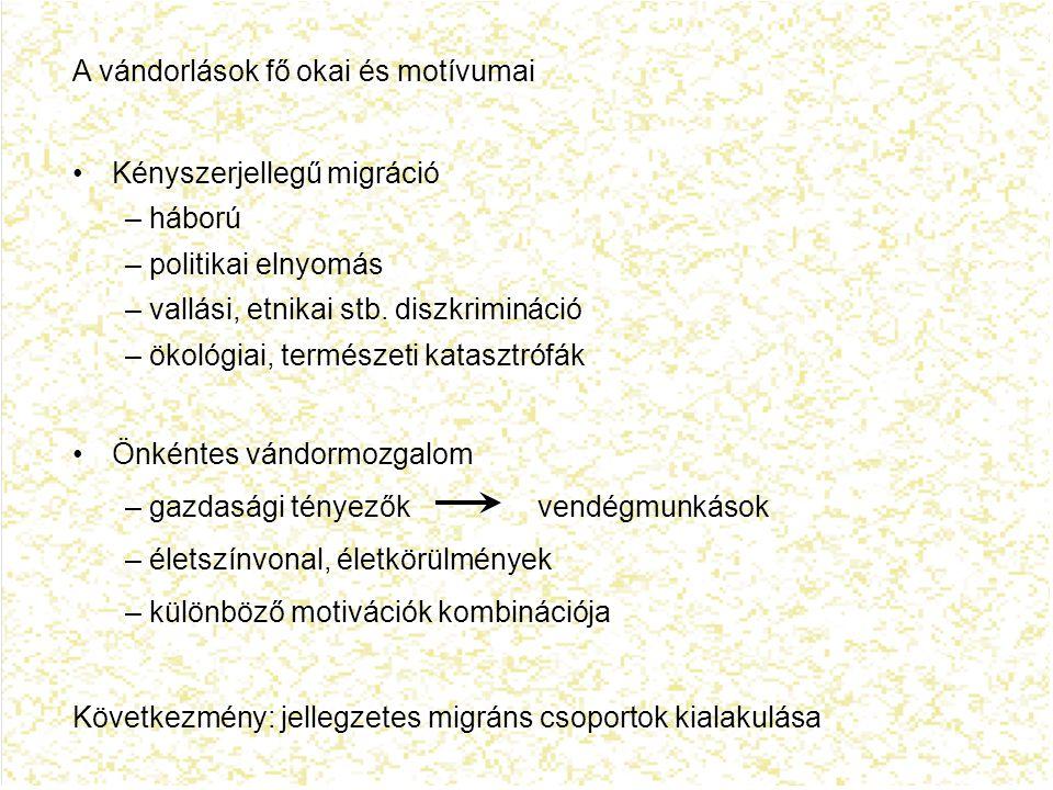2.alapkérdés: hol áll Magyarország a nemzetközi vándormozgalom folyamataiban.