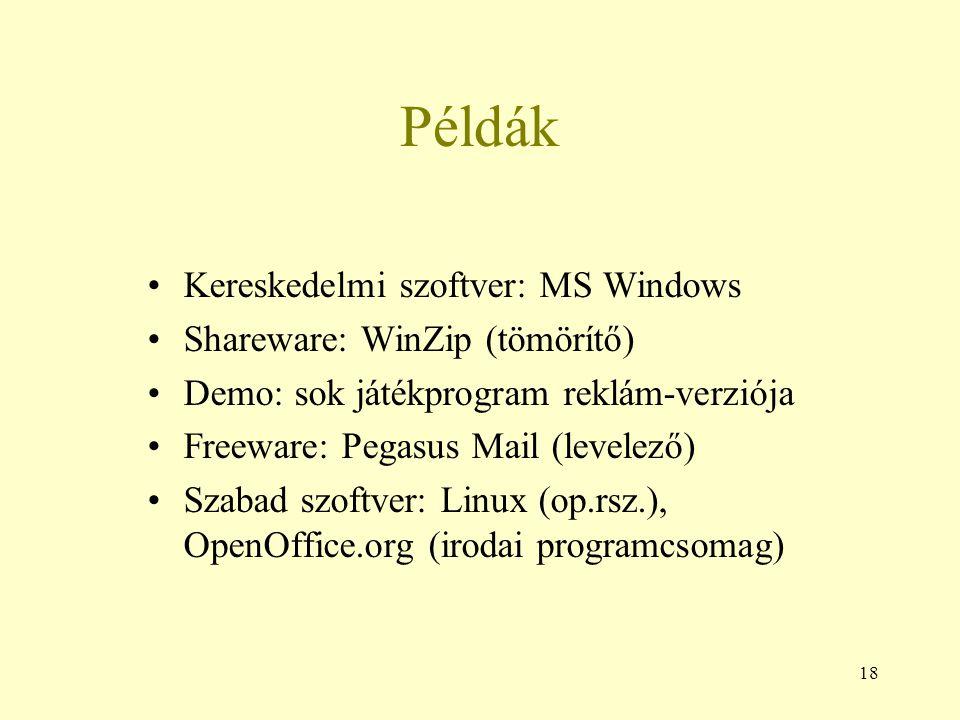 18 Példák Kereskedelmi szoftver: MS Windows Shareware: WinZip (tömörítő) Demo: sok játékprogram reklám-verziója Freeware: Pegasus Mail (levelező) Szab
