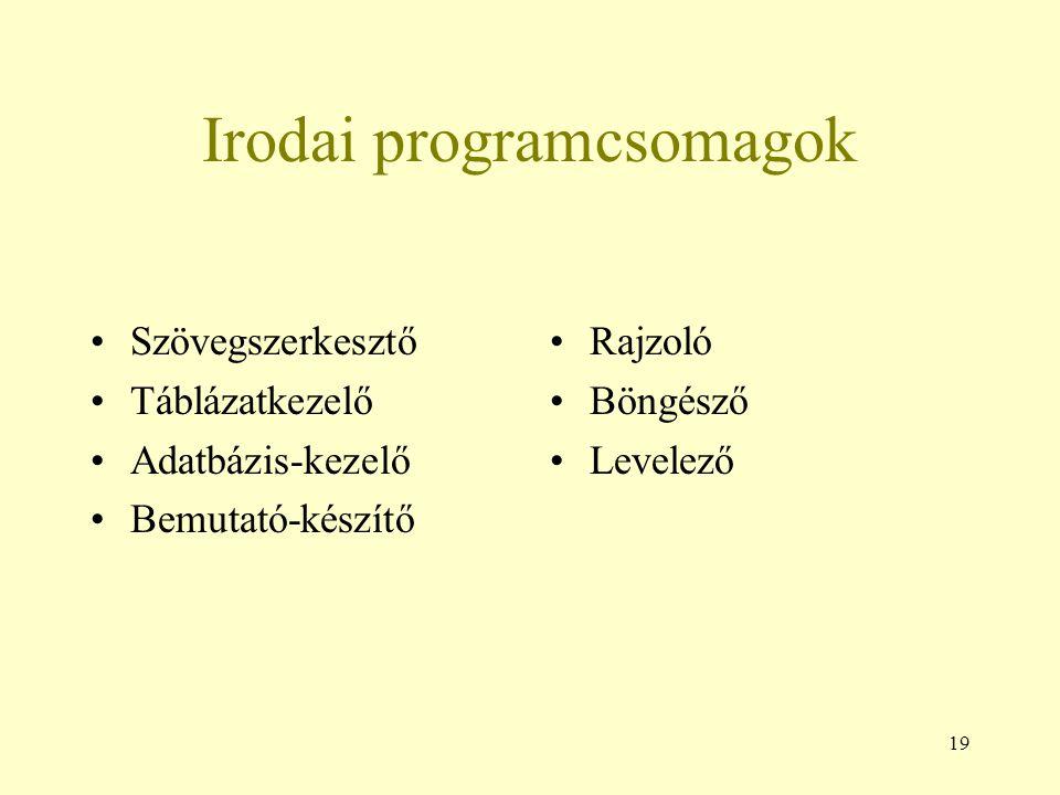 19 Irodai programcsomagok Szövegszerkesztő Táblázatkezelő Adatbázis-kezelő Bemutató-készítő Rajzoló Böngésző Levelező