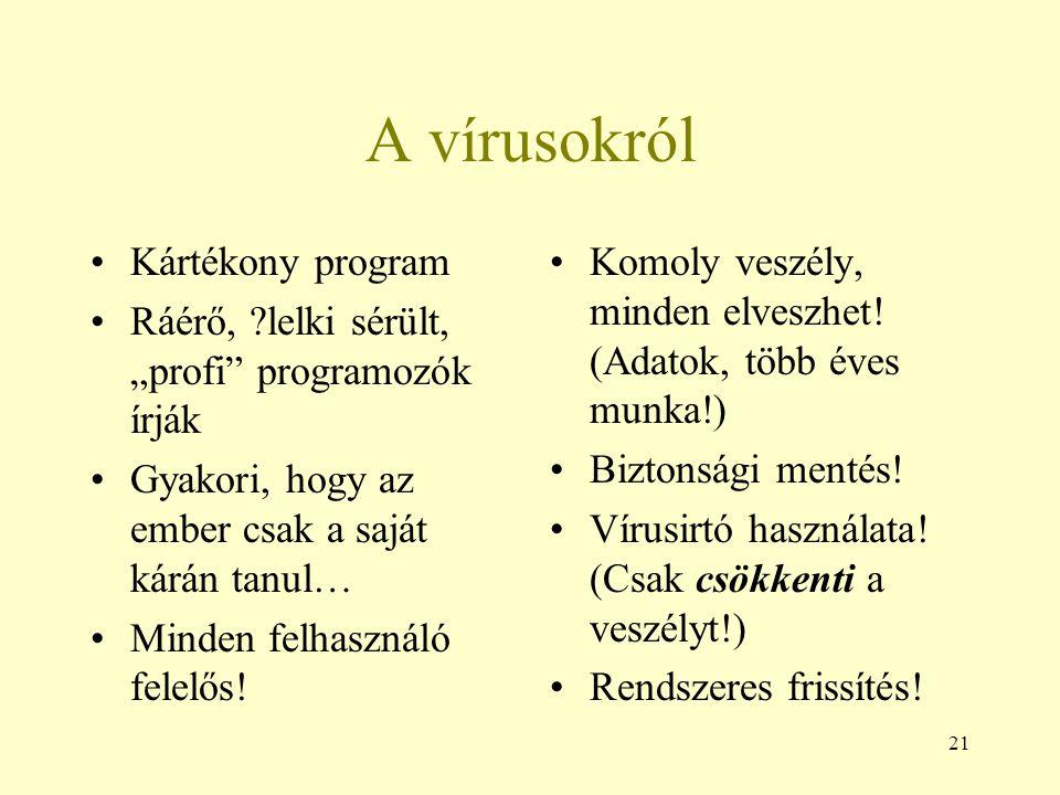 """21 A vírusokról Kártékony program Ráérő, ?lelki sérült, """"profi"""" programozók írják Gyakori, hogy az ember csak a saját kárán tanul… Minden felhasználó"""