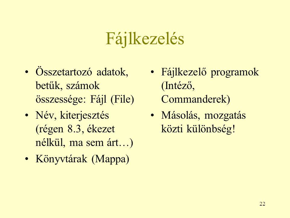 22 Fájlkezelés Összetartozó adatok, betűk, számok összessége: Fájl (File) Név, kiterjesztés (régen 8.3, ékezet nélkül, ma sem árt…) Könyvtárak (Mappa)