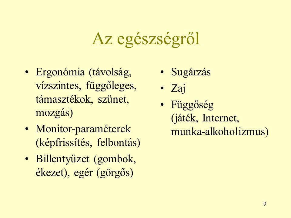 9 Az egészségről Ergonómia (távolság, vízszintes, függőleges, támasztékok, szünet, mozgás) Monitor-paraméterek (képfrissítés, felbontás) Billentyűzet
