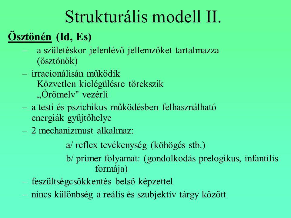 Strukturális modell II. Ösztönén (Id, Es) –a születéskor jelenlévő jellemzőket tartalmazza (ösztönök) –irracionálisán működik Közvetlen kielégülésre t